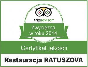 Restauracja Ratuszova w Poznaniu - certyfikat jakości tripadvisor
